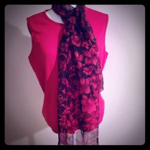 Scarf Sheer Red & Black Flowers Splashed w/Gold